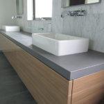 Grey Basalt Bathroom Counter in Honed